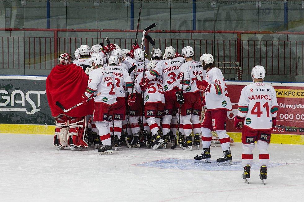 Hokejové utkání 5. předkola play-off Chance ligy mezi SK Horácká Slavia Třebíč a HC Slavia Praha.