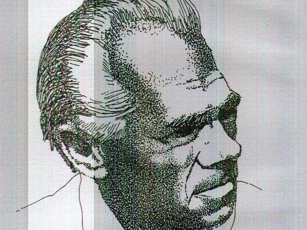 Karel Švestka v kresbě Miloše Kačírka.