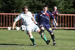 Fotbalistům Přibyslavic (v zelenobílém) se uplynulý podzim v 1. B třídě vydařil. Podaří se jim postoupit o patro výš?