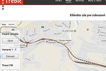 Možná trasa obchvatu znázorněná na webu obchvat.trebic.cz.