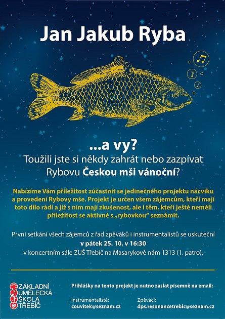 Třebíčská umělecká škola vyzývá lidi kúčasti na provedení Rybovy mše.