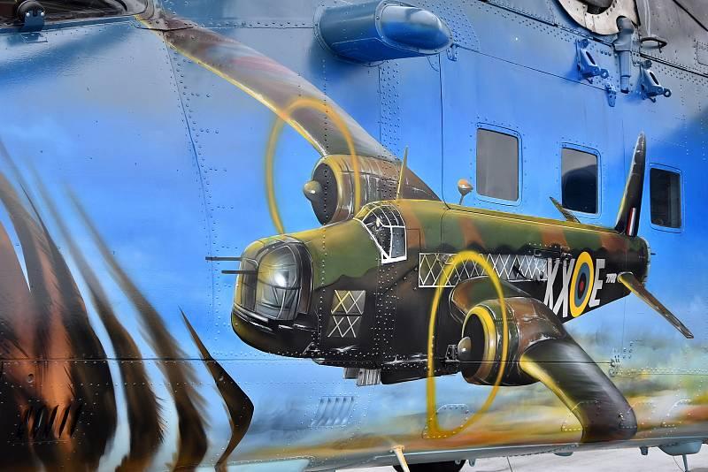 Nová tygří kamufláž vrtulníku Mi - 24/35. Právě 221. tygří letka z Náměště je jako první vrtulníková jednotka a první letka z východního bloku členem prestižní Asociace tygřích letek NATO.