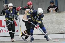 Přibyslavice (uprostřed) vedly v Kyjově po dvou třetinách 1:0, ale ve třetí části přišel obrat znamenající vyřazení.
