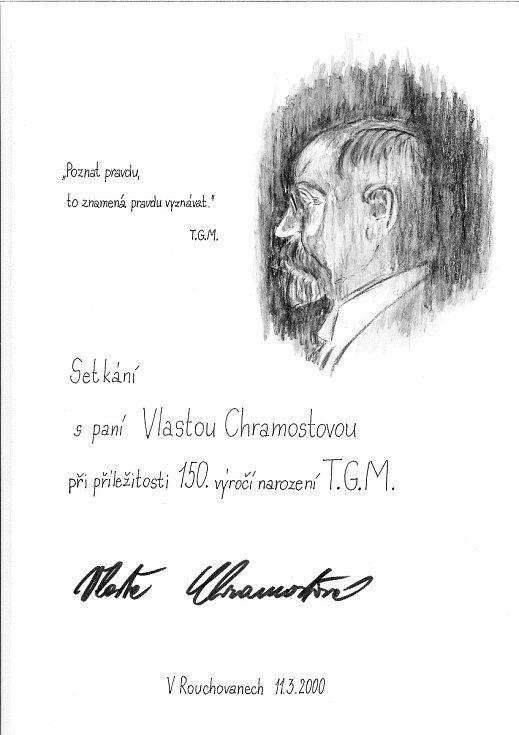 Pamětní list ze setkání s Vlastou Chramostovou v Rouchovanech. Foto: Archiv obce Rouchovany