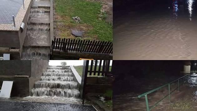 Přívalové deště vtrhly do několika domů a sklepů ve Slavíkovicích.