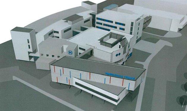 Vizualizace. Nový třípodlažní pavilon operačních sálů vTřebíči.