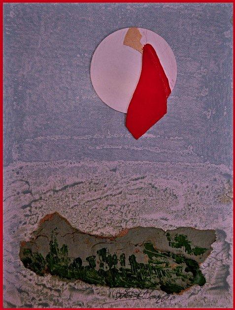 Jan Dočekal: Saludos de la luna llena desde el amor (Pozdravy úplňku zlásky), akryl a koláž na plátně.