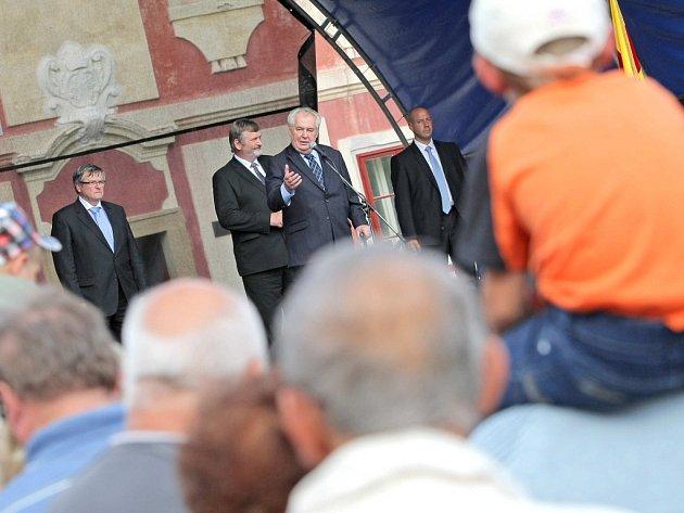 Prezident Miloš Zeman na návštěvě Náměště nad Oslavou.