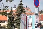 Nabíjecí stanice pro elektromobily v Třebíči.