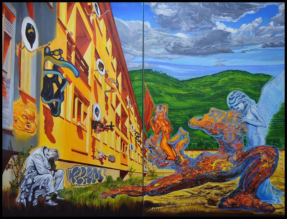 Igor Piačka: Sen, diptych, olej a akryl na plátně, 2011.
