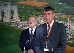 Ministr financí Andrej Babiš v dukovanské elektrárně.