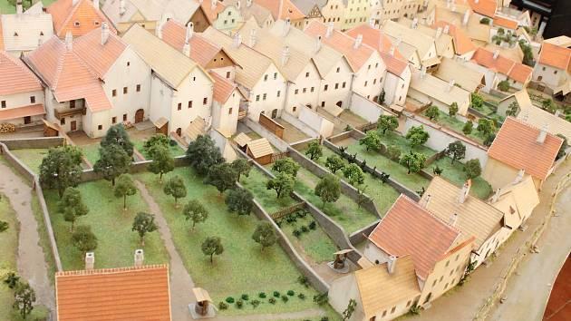 Třebíčská čtvrť Stařečka z roku 1835 na modelu Stanislava Vršky.