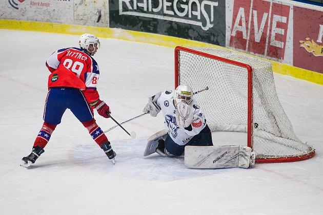 Hokejové utkání Chance ligy mezi SK Horácká Slavia Třebíč a SC Kolín.