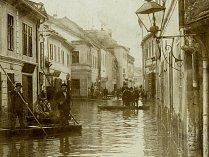 Povodeň v židovské čtvrti v Třebíči.