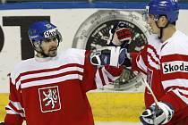 Hokejový útočník Tomáš Rolinek (vlevo).