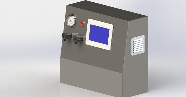 Vizualizace nového plicního ventilátoru, na jehož vývoji a výrobě se podílí odborníci zČVUT, třebíčská společnost MICo group a skupina Covid 19CZ.