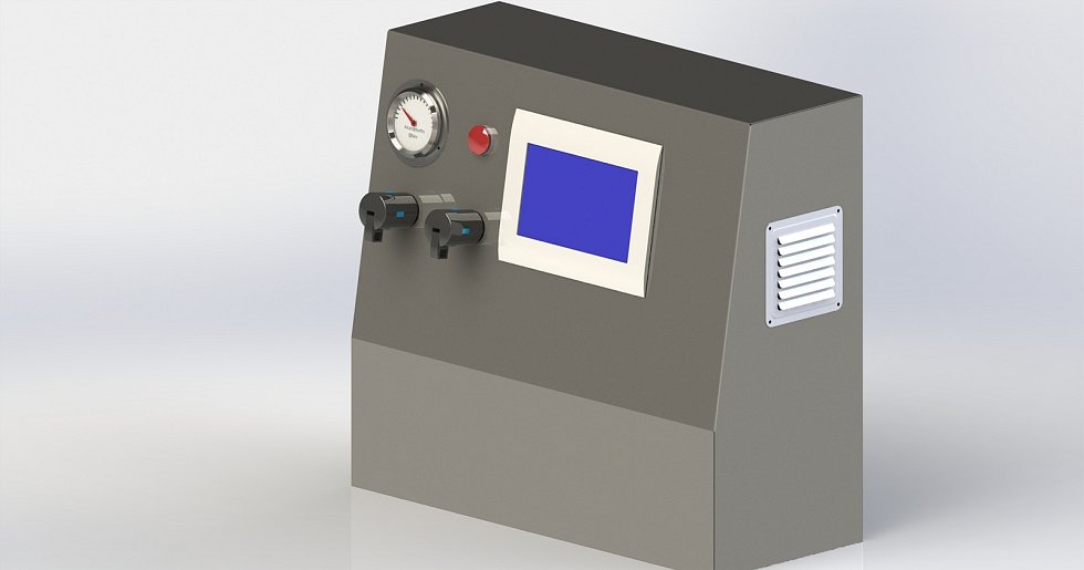 Vizualizace nového plicního ventilátoru, na jehož vývoji a výrobě se podílí odborníci z ČVUT, třebíčská společnost MICo group a skupina Covid 19CZ.