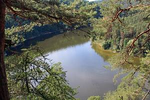 Svahy nad Dalešickou přehradou.