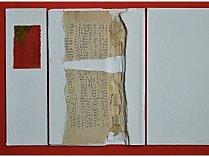 Jan Dočekal: Ex libris, koláž a akryl na lepence, 43,5 x 54 cm, 2017.