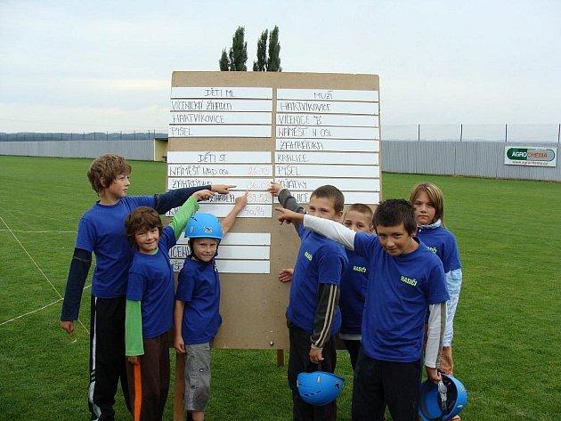 ÚSPĚCH. Soutěž ve Vícenicích 29. srpna 2009 byla úspěšná zejména pro družstvo starších žáků.