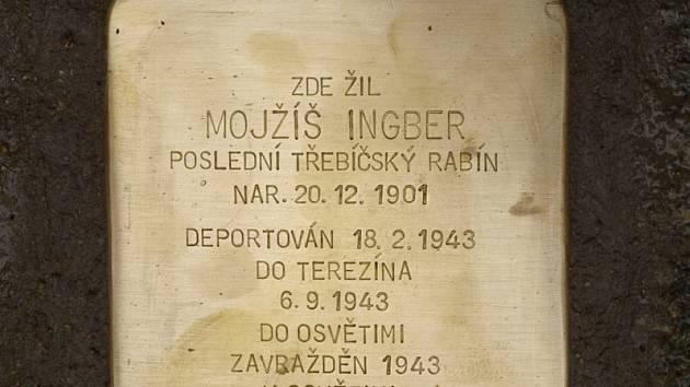 Stolperstein připomínající posledního třebíčského rabína.