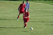 Dvoutisící gól slavických fotbalistů zaznamenal 15. října uplynulého roku Milan Fogaš (u míče), který v 74. minutě zápasu proti Trnavě upravil na konečných 5:0.