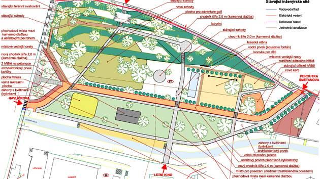 Vizualizace přestavby městského parku a letního kina v Budějovicích. Rozdíly mezi dvěma variantami jsou jen malé.