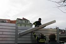 Nácvik stavby mobilních protipovodňových opatření.