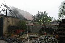 Požár seníku v Třebenicích.