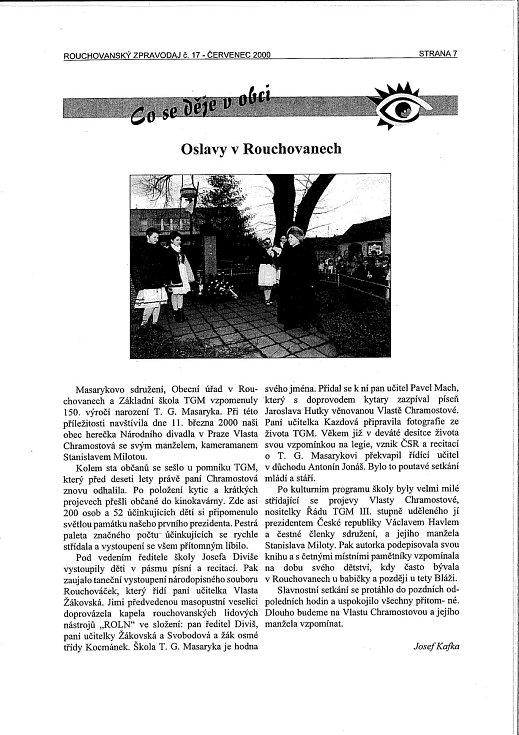 Článek o návštěvě Vlasty Chramostové v rouchovanském zpravodaji. Foto: Archiv obce Rouchovany