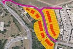 Náhled - situace, jak budou parcely rozvržené v terénu.