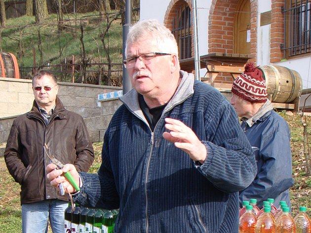 VINAŘ. Lubomír Lampíř, majitel vinic pod hradem Sádek radil začínajícím a méně zkušeným kolegům, jak pěstovat révu.