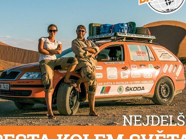 O nejdelší cestě kolem světa přijede do Centra Lihovar vyprávět posádka posádka oranžové Škody Octavia Ladislav Bezděk a Kateřina Dvořáková.