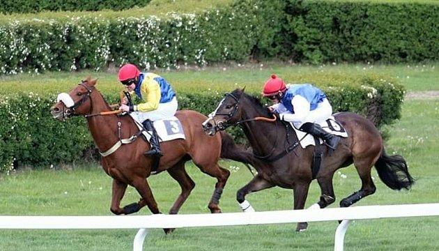 Foto 2: Vroce 2019na závodišti vMostě. Já jsem ta druhá. Kůň, kterého jsem jela, se jmenuje Angostura.