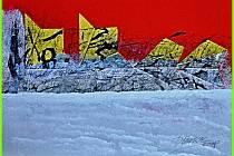 Jan Dočekal: Molo v Modrém moři, akryl, tuš a koláž na papíře, 14,5 x 21 cm, 2020.