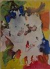 Martin Hronza: Bez názvu VII, dekalk a akvarel, 42 x 30 cm, 2005.