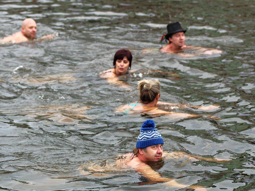Otužilci v řece Jihlavě v Třebíči. Plavání uspořádal Klub ledních medvědů.