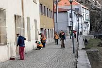 Čištění ulic v Třebíči.