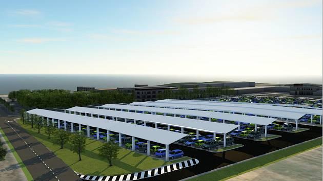 Dukovanští získají nové parkoviště. Bonusem budou fotovoltaické panely nad zaparkovanými auty.