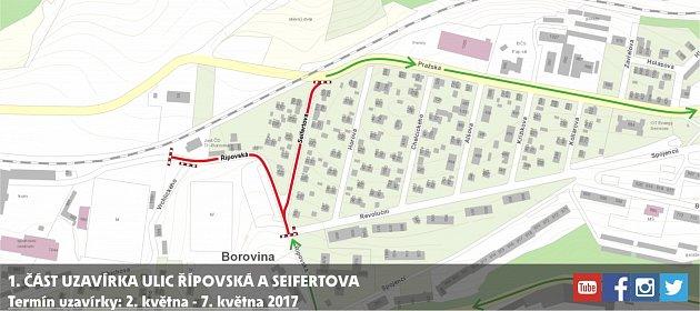 Mapa první etapy uzavírky vBorovině.