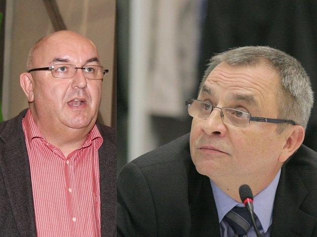 Na straně žalobce zasedl majitel společnosti TTS a předseda Okresní hospodářské komory Richard Horký (vlevo), žalovaným je člen zastupitelstva města Jaromír Barák (Třebíč Občanům!).