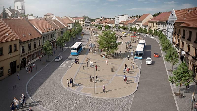 Vizualizace toho, jak bude náměstí v Třebíči vypadat po dokončení revitalizace v roce 2022.