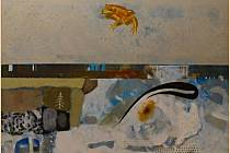Sergej Biba: Bez názvu, 85 x 75 cm, kombinovaná technika na plátně.