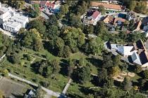 Městský park - Moravské Budějovice. Stávající stav – letecký snímek.