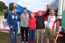 Na snímku zleva David Svoboda, olympijský vítěz v moderním pětiboji z Londýna, vedle jeho bratr Tomáš Svoboda, vítěz letošního Světového poháru a vpravo Petr Mejzlík.