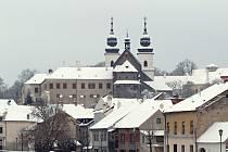 Zasněžené třebíčské památky ve středu 17. ledna 2018.