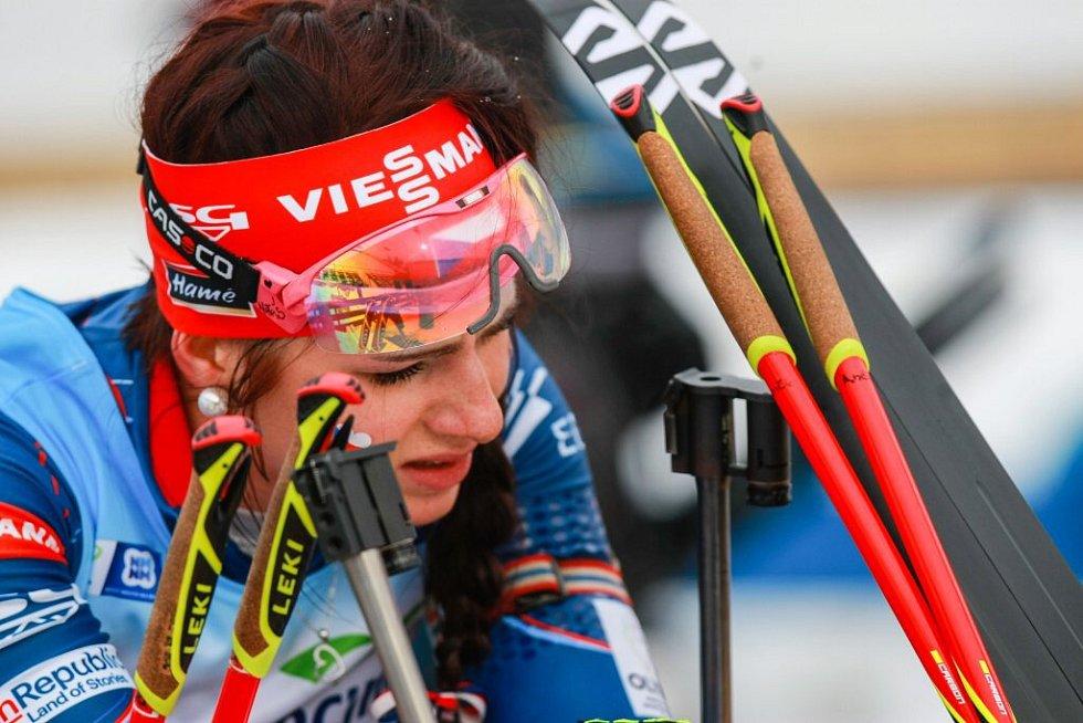 Sprint žen na juniorském ME v biatlonu v Novém Městě na Moravě.