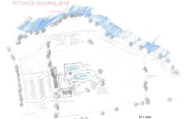 Aquapark z méně detailního pohledu. Jedná se o konečnou variantu.