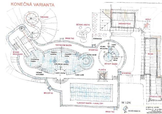 Detailní proporce aquaparku z detailního pohledu. Konečná varianta.
