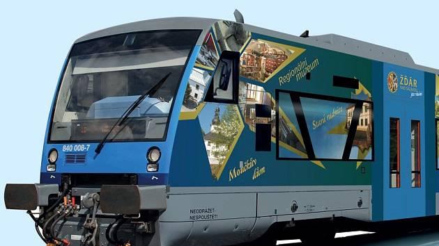 """Reklama na vlaku ukazuje největší """"taháky"""" pro návštěvníky města."""